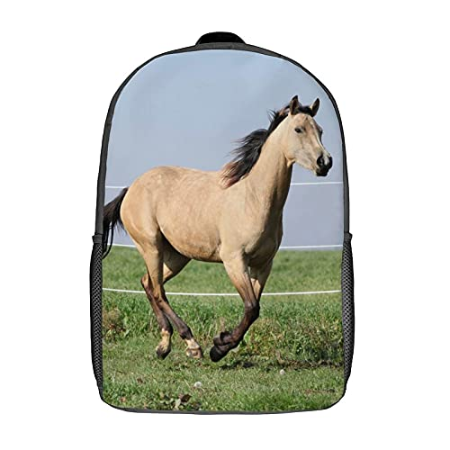 Qtchenglj 17 Inch Laptop Backpack,Palomino Quarter Horse Running On Pasturage In Autumn X,Business Travel Anti Theft Computer Daypack Slim Durable School Bag