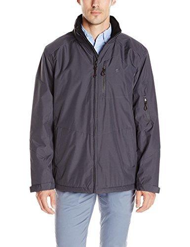 IZOD Men's Ultra Durable Fleece Lined Rip-Stop Jacket, Charcoal, Small