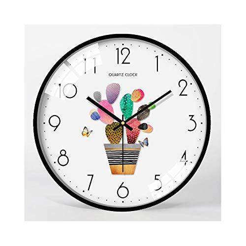 XMBT Silencioso, sin tictac, Calidad, Cuarzo, con Pilas, Decorativo, Redondo, rústico, Reloj de Pared,Reloj de la Escuela Reloj de Pared Digital,Size: 14 Inch