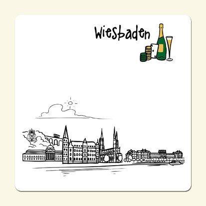 die stadtmeister Untersetzer Skyline Wiesbaden (weiß) - als Geschenk für Wiesbadener & Fans Wiesbadens oder als Souvenir