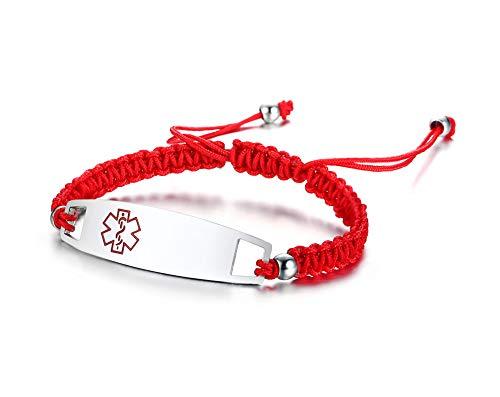 VNOX Grabado Libre Hecho A Mano Nylon Rojo Cuerda Trenzada de Acero Inoxidable Alerta Médica de Emergencia ID Etiqueta Ajustable Pulsera para Niños Mujeres