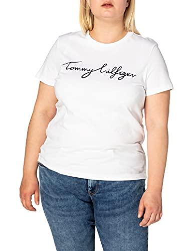 Tommy Hilfiger Damen HERITAGE CREW NECK GRAPHIC TEE Regular Fit T-Shirt, Weiß (Classic White 100), Large ( Herstellergröße: L)
