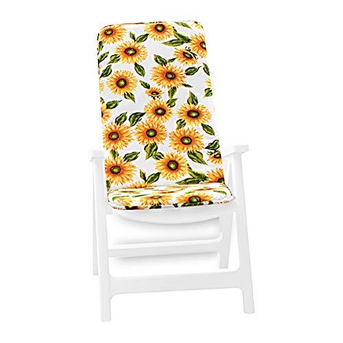 ARREDIAMOINSIEME-nelweb Ibiza Housse / Coussin de chaise universel, doux, motif tournesols, tissu en coton, pour chaise de piscine, plage, jardin jaune