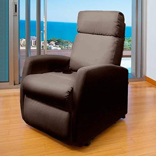 Cecotec Sillón Relax de Masaje Compact, Función calor, 5 Programas, 3 Intensidades, 8 Motores, Mando de control, Polipiel de calidad, Bolsillo portaobjetos, color Marrón