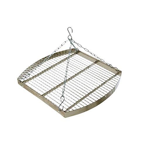 acerto 31175 Ungarischer Grillrost mit Kette, 60 cm * Verchromt * Mit Außenring * Besonders robust | Grillgitter zum Aufhängen am Dreibein | Gitterrost, Grillauflage für Schwenk-Grill