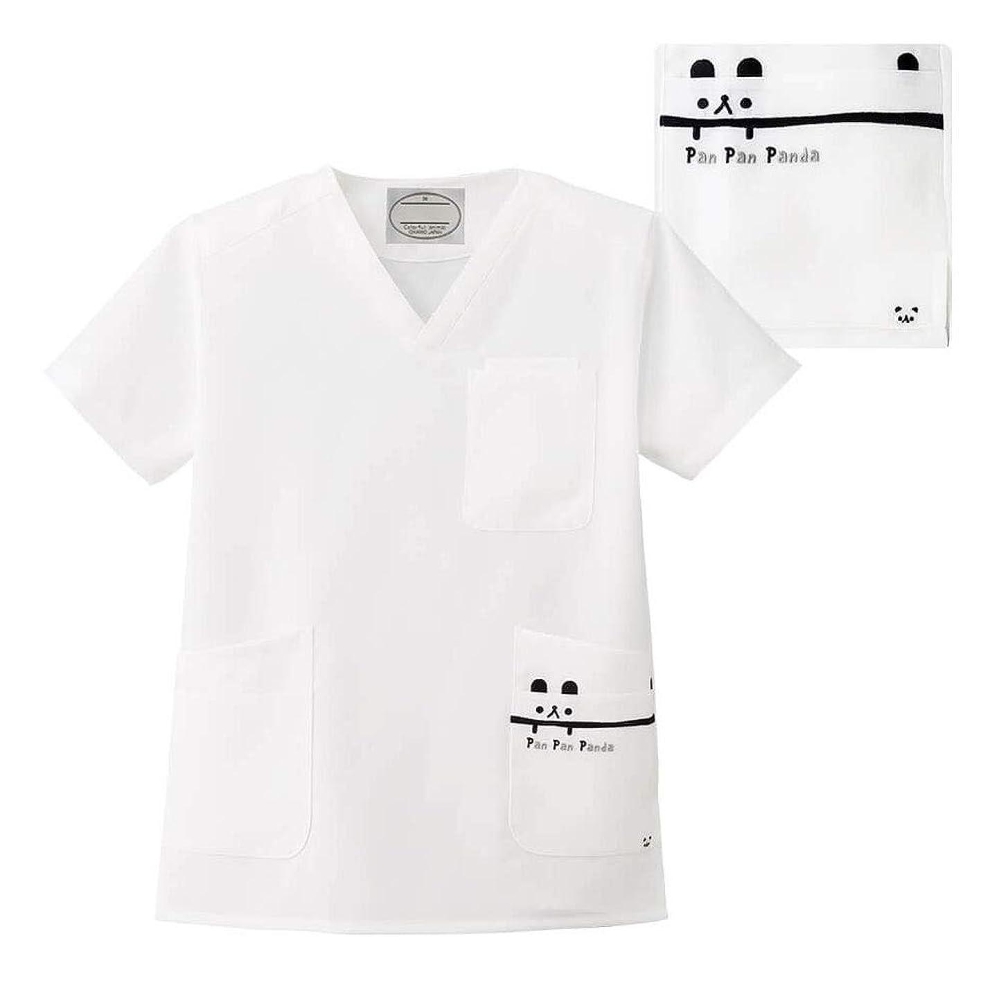 満足できるアプトドレインナースリー カラフルアニマル スクラブ 胸元?脇が開き過ぎない 肌触りさらり 医療 白衣 レディース メンズ LL パンダ 9208401A