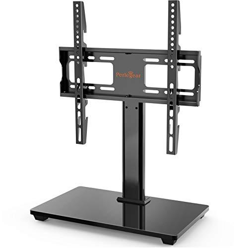 Perlegear テレビスタンド テレビ台 机上 小型 壁寄せ 32-55インチ対応 耐荷重40kg 左右回転35度高さ調節可能 強化ガラス製ベース 最大VESA規格400 x 400 mm