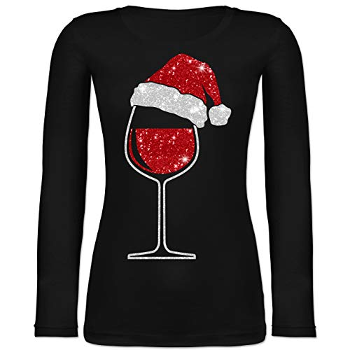 Weihnachten & Silvester - Weinglas mit Weihnachtsmütze - M - Schwarz - BCTW071_Damen_Langarm - BCTW071 - Langarmshirt Damen
