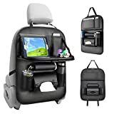 Glomixs Car Seat Organizer, Car Organizer Back Seat Protector Kick Mats for Kids PU Leather Car Storage Organizer with Foldable Table Tray, Tablet Holder, Tissue Box, Travel Accessories Organizer