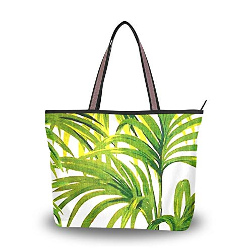 NaiiaN para mujeres, niñas, señoras, bolso de estudiante, compras, correa liviana, hojas de plantas tropicales, bolsos de naturaleza verde, bolso de mano, bolsos de hombro