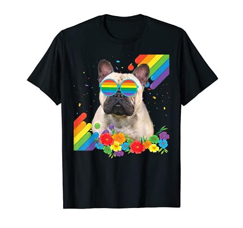 Proud LGBT Gay French Bulldog Dog Pride Flag Rainbow LGBTQ T-Shirt