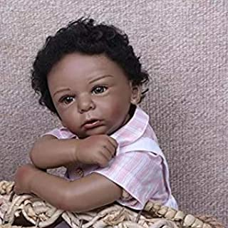 iCradle 22inch 55cm Reborn Baby Dolls Silicone Black India Style Dolls Boy Toys for Children Birthday Gifts Handmade Toddler Age 3+