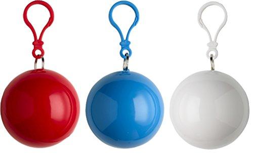 sinsey 3er Set Poncho Notfall-Poncho Regencape Regenponcho (rot - blau - weiß)