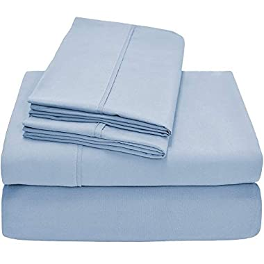 Bare Home Premium - Queen Size Sheets - 1800 Ultra-Soft Microfiber Collection Sheet Set - Double Brushed - Hypoallergenic - Wrinkle Resistant - Deep Pocket (Queen, Light Blue)