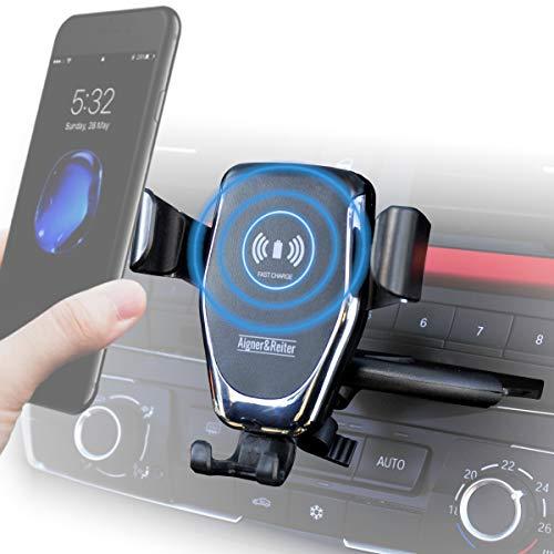 Handyhalterung Auto mit Ladefunktion für den CD Schlitz | KFZ Handy Halterung inkl Induktion Wireless Charger für den CD Schacht | für alle iPhone, Samsung Galaxy, Huawei, LG, usw mit Qi Standard