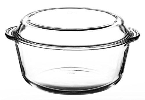 Glas Auflaufform 3,15 L rund mit Deckel Bräter Schüssel Schale Glasschale