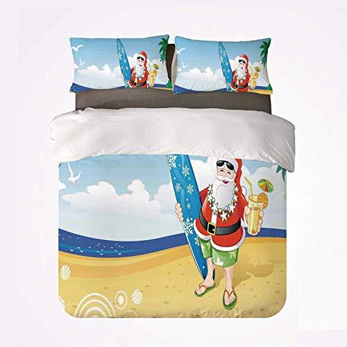 Decoraciones navideñas Santa en la playa con tabla de surf Celebración de la fiesta de verano Arte tropical ,Juego de ropa de cama con funda nórdica de microfibra y 2 funda de almohada - 140 x 200 cm