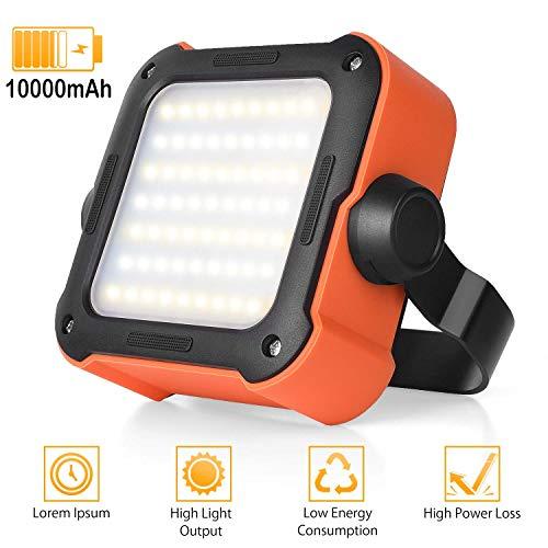 LED Arbeitsleuchte Akku,Campinglampe LED USB Wiederaufladbare Tragbar Outdoor Flutlicht mit 10000mAh Powerbank, Notfallleuchte mit 15 Lichtmodi für Stromausfällen, Hurrikan, Camping, Werkstatt