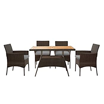 Peaktop PT-OF0021 5 Pieces Outdoor Furniture Patio Dining Set with Rectangle Acacia Solid Wood Tabletop and PE Wicker Armchairs Brown