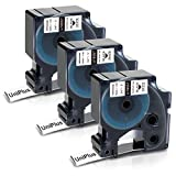 UniPlus 19 mm Tubo Termorretráctil Compatible con DYMO Rhino 18057 S0718330 Negro sobre Blanco Cinta de Etiquetas para DYMO Rhino 5200 4200 5000 1000 3000 6000, 19mm x 1.5m