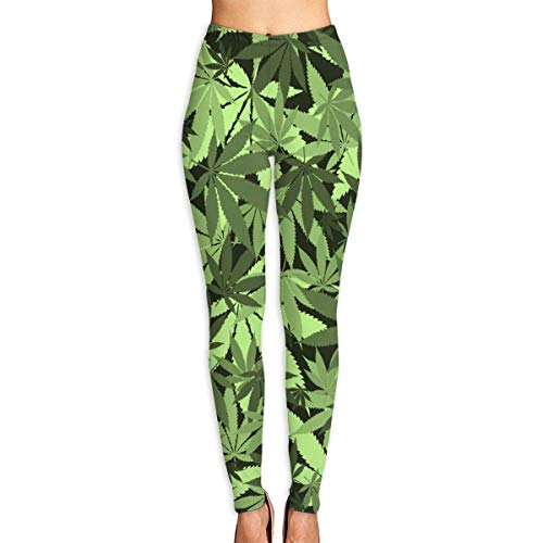 DLing Pot Leaf Marijuana Womens Full-Length Yoga Pants Fitness Workout Leggings,L