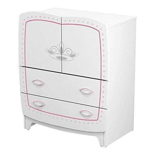 habeig Kinderkommode Kommode Kindermöbel weiß rosa Schubladen Kinderschrank Sideboard Prinzessin