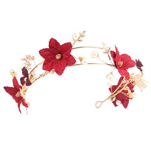 Beaupretty Hochzeit Blume Tiara rote Blume Krone Gold Schmetterling Tiara Haarbänder Braut Perle Krone Haarschmuck Zubehör für Frauen Damen
