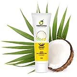 Tropicana Oil, crema solare al cocco naturale, 100 g, con SPF 50 + olio di cocco pressato a freddo ed estratto di aloe vera, estratto di frutta di pomodoro, vitamina B3, lozione solare protettiva