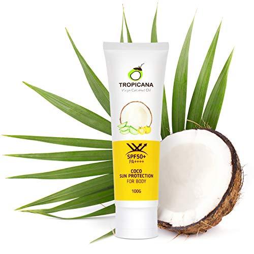SALE-50% Tropicana Oil Natürliche Kokos Sonnencreme 100g mit LSF 50+Kokosöl & Aloe Vera Extrakt, Tomatenfruchtextrakt, Vitamin B3, Hydration Protective Sun Lotion
