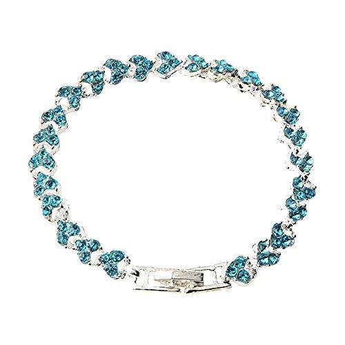 TT- Armband Halskette mit Strass,Damen-Charm-Armband Damenarmband Mädchen Tennis Tennisarmband Tennis Chain Armbänder für Valentinstag Weihnachten Geburtstag Geschenke (Blau, OneSize)