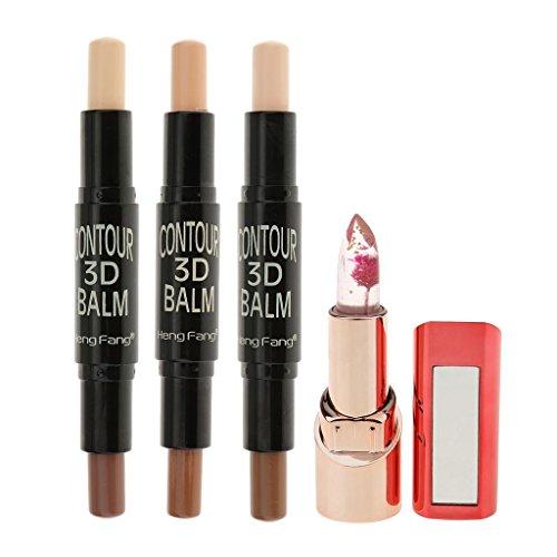 SM SunniMix 3pcs Surligneur Crème Contour Double Visage 3d Face + 1pc Fleur Changement De Couleur Rouge à Lèvres