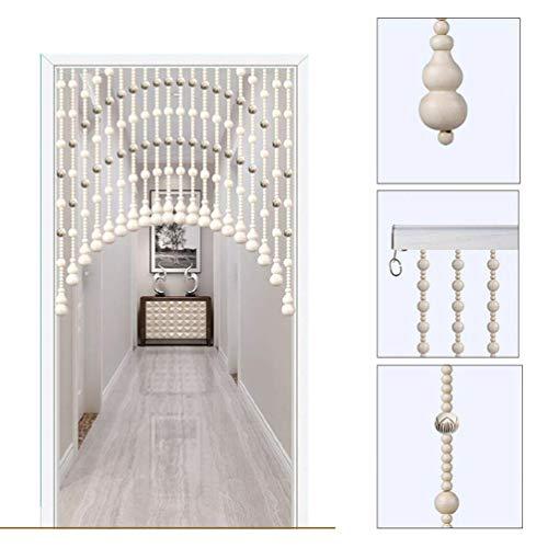AZYQ Cortinas con cuentas de madera vintage, cortina de cuentas para puertas, separadores de habitaciones, gazebo, armarios, sala de estar (+ herrajes para colgar), fácil de instalar,rojo,180-200 cm