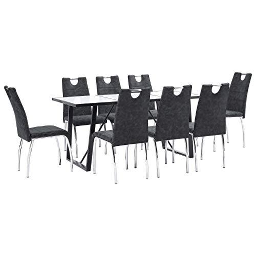 Lepeuxi Conjunto de Comedor Mesa y Sillas 9 Piezas Cuero Sintetico Color Negro 180 x 90 x 75 cm/45 x 60 x 94 cm