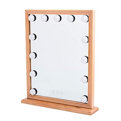 FENGHUANG Desktop LED con Specchio per Il Trucco della Lampadina, Cornice in Legno Massello (Dimensioni: 33 Cm * 42 Cm)