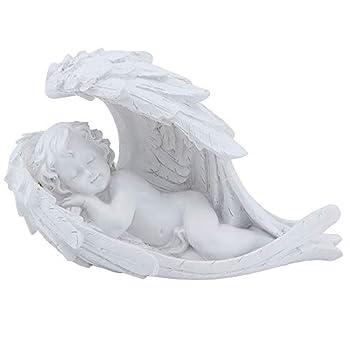 MoYouno Memorial Gift Baby Sleeping on Angel Wings Figurine Cherub Statue Polyresin Weather and Frost Resistant Ornament  Sleeping Cherub Figurine
