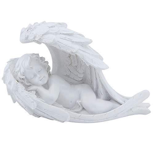 MoYouno Gedenkgeschenk, Baby schlafend in Engelsflügelfigur, Cherub-Statue, Wetter- und frostbeständig