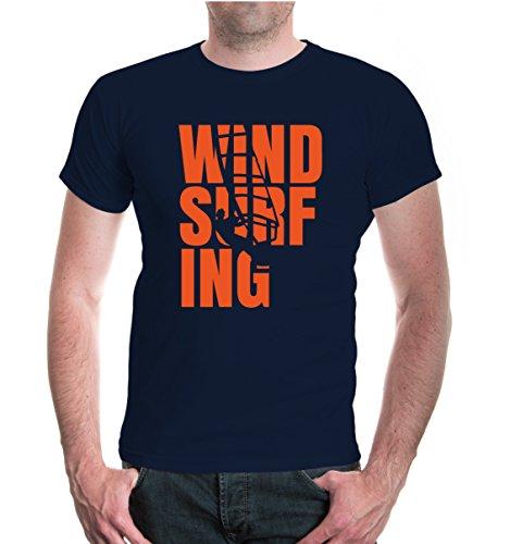 buXsbaum® Herren Unisex Kurzarm T-Shirt Bedruckt Windsurfing Type   Wassersport Windsurfen   XL Navy-orange Blau