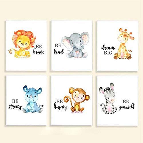hdbklhjxk kinderkamer afdrukken jungle dierbaby's canvas kunst schilderij poster giraffe olifant leeuw zebra afbeeldingen baby kamer wanddecoratie 30x40cmx6 niet-ingelijst