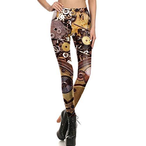 YJKGPZQLZ Leggings 3D Leggings Frauen Workout Legging Steampunk Mechanische Ausrüstung Cosplay Leggin Frauen Jeggings Print Fitness Pant