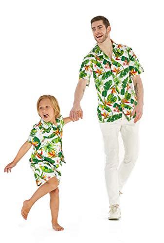 Matching Father Son Hawaiian Luau Outfit Men Shirt Boy Shirt Shorts Bird of Paradise White M-4
