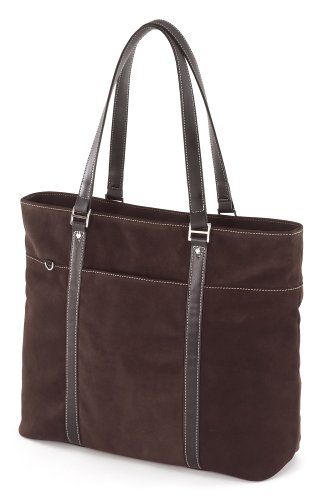 Mobile Edge Ultra Laptop Tote Bag, Chocolate Brown Suede, Fits 16 Inch PC and 17 Inch MacBook, SafetyCell Computer Protection Compartment, for Women, Business, Students METL08