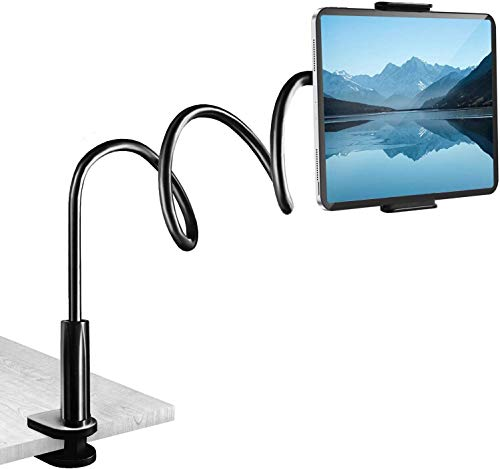 Gooseneck Tablet Stand, Tablet Mount Holder for iPad Pro Air Mini iPhone Series/Samsung Galaxy Tabs/Kindle Fire/E-Reader/Switch and More, Flexible Arm Clip Tablet Mount, 30in Overall Length (Black)