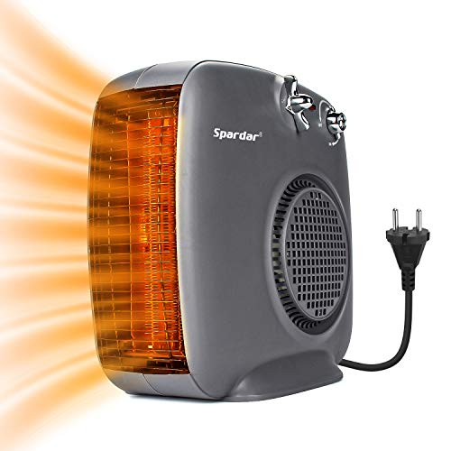 Spardar 2000W Keramik-Heizlüfter mit Thermostat und Überhitzungsschutz 1000 W / 2000 W Leistung Tragbare elektrische Lüfterheizung 3 Heizmodi für Büro, Haus, Bad