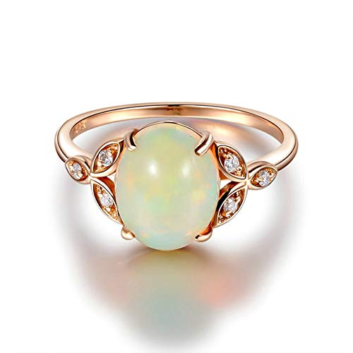 ANAZOZ Echtschmuck Ring Damen 18 Karat / 750 Rosegold Oval 2Ct Opal Bunt Eheringe Trauringe Hochzeitsringe Brilliant Solitär-Ring Diamantring Schmuck für Frauen Größe:52 (16.6)