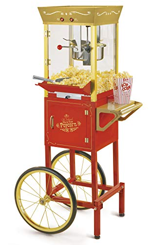 NOSTALGIA CCP525RG Vintage 8-Ounce Professional Concession Cart 53 Inches Tall, Makes 32 Popcorn, with Kernel Cup, Oil Measuring Spoon and Scoop, 13-Inch Wheels for Easy Mobility, Red