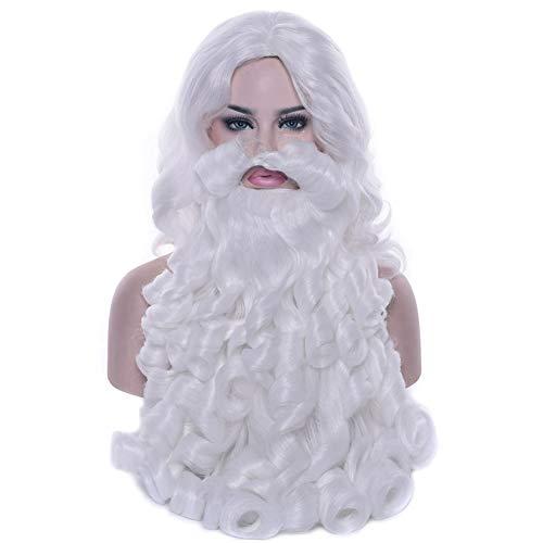 KIWINI Santa Claus peluca de barba larga blanca disfraz accesorio para fiesta de Navidad