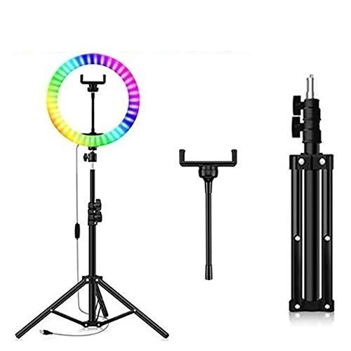 CXZC - Anillo para selfies con soporte, 10 pulgadas, RGB, 20 colores, 3000 K - 6500 K