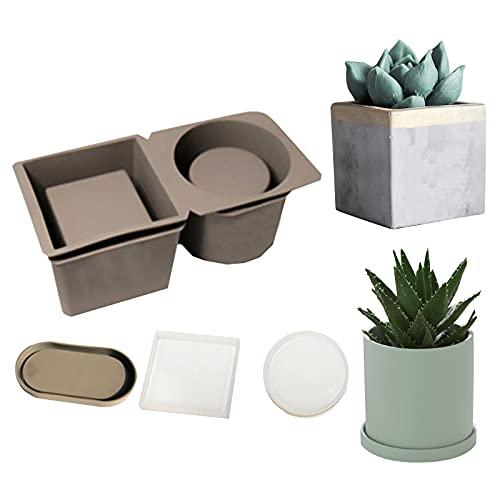 Stampo in silicone per piante, GJCrafts 4 pezzi, per vaso di fiori, doppio foro, in cemento, forma rotonda, quadrata ovale, per vasi da fiori, in ceramica, fai da te