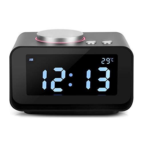 Jacksking Despertador Digital, Despertador LCD Digital Radio FM con función de Altavoz + Puertos de Carga USB Dobles, Radio Reloj