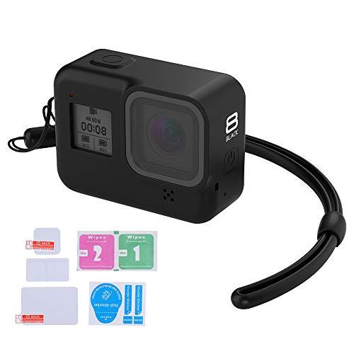 LARRITS Coque de protection en silicone + dragonne en silicone + film de protection d'écran en verre et film de protection d'objectif pour GoPro Hero 8 Noir